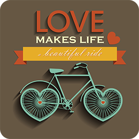 love makes life a beautiful ride drink coaster