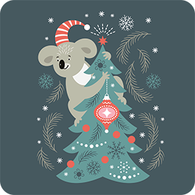 koala beer merry christmas drink coasters