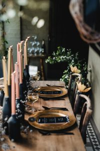 black and gold table setting