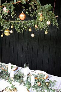 green and gold table setting